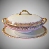 Union Ceramique Limoges France M.F. & Co. Covered Gravy Boat with Liner - LBB