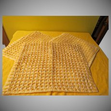 Yellow Gingham Checked, Smocked, Beaded and Sequined Pillow Shams - L10