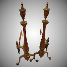 Tall Stately Urn Topped Andirons - G