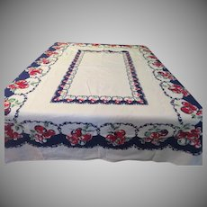 Bright Blue and Ripe Red Fruit Tablecloth - CL