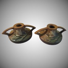 Roseville Magnolia Terra Cotta Candle Holders 1156 2 1/2 - b226