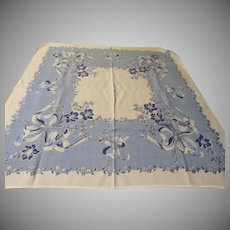 Blue Blooming Flower Tablecloth - b229