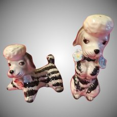 Black and White Stripe Poodle Salt and pepper Shakers - JSP