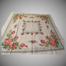 Pink Roses Card Table Cloth - b229