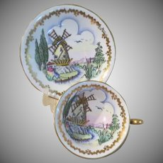 Royal Chelsea English Bone Chine Windmill 460A Cup and Saucer - b238