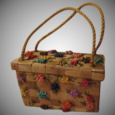 Rope Handle Woven Handbag with Raffia Flowers - b244