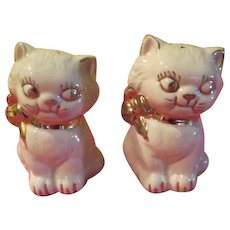 Gold Trimmed Cat Salt and Pepper Shakers