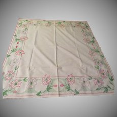 Crocheted Edge and Embroidered Flower Card Table  Cloth - b229