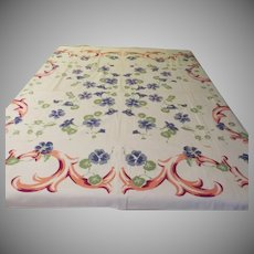 Periwinkle Blue Flowers Tablecloth - b229/7
