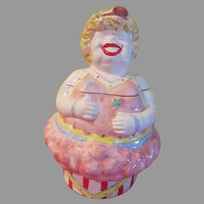 Giggling Circus Fat Lady Cookie Jar in Box