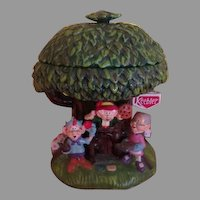 Ernie, Elmer and Ma Keebler Tree House Cookie Jar