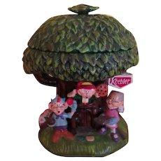 Ernie, Elmer and Ma Keebler Tree House Cookie Jar