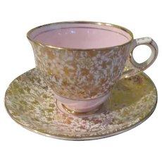 Royal Stafford English Bone China Gold and Pink #8201 Cup/Saucer - B237
