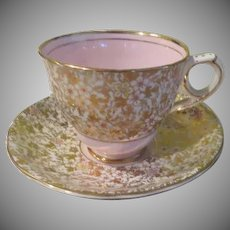 Royal Stafford English Bone China Gold and Pink #8201 Cup/Saucer - B237