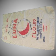 Luna 100 Pound Flour Sack Pillsbury Co. - b237