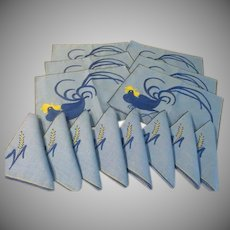 Blue Roosters Placemats and Napkins - b234