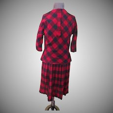 Gray and red Plaid Suit with Knife Pleat Skirt