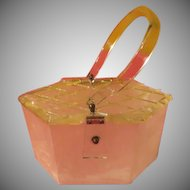 Quilted Diamond Top Lucite Purse/handbag - b231
