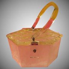 Quilted Diamond Top Lucite Purse/handbag - b231