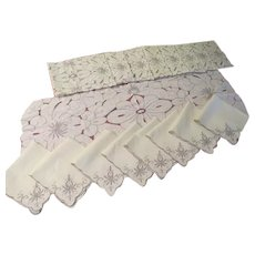 Cutwork Napkins, Placemats and Runner - b231