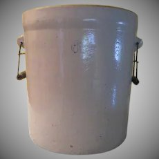 Salt Glaze 6 Gallon Pickling Crock with Handles. - g