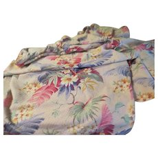 Bold Flower Pinch Pleated Bark Cloth Drapes - L3
