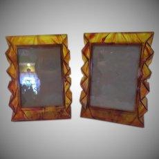 Tortoise Lucite/acrylic NuDell Plastics Picture Frames - b232