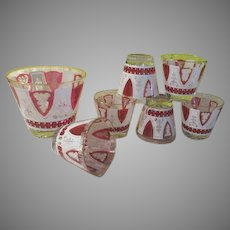 Vogue Crystal White with Ruby Flocked On the Rocks Glasses and Ice Bucket - b6
