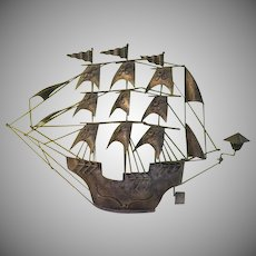 Come Sail Away 3 Mast Ship Metal Wall Sculpture - g