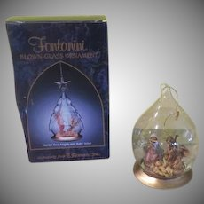 "Fontanini Nativity ""Holy Family"" inside Glass Ornament - b234"