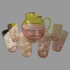 Pale Pink Ball Pitcher with Tumblers - b239