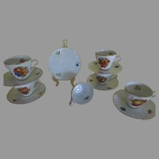 Old Nuernberg Bountiful Fruit Bavarian Germany Cups and Saucers - b239
