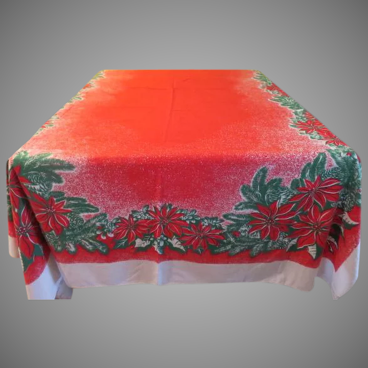 Mostly Red Poinsettia Tablecloth   B234 : Hodge Podge Lodge   1   Ruby Lane