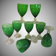 Anchor Hocking Forest Green Bubble Foot Water Goblets - BG