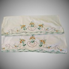 Embroidered Yellow Flowers Pillow Cases - b234