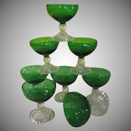 Anchor Hocking Forest Green Bubble Foot Champagne/sherbet Glasses - BG