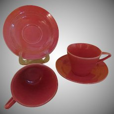 Homer Laughlin Harlequin Coral Cups and Saucers - b235