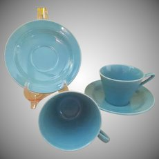 Homer Laughlin Harlequin Turquoise Cups and Saucers - b235