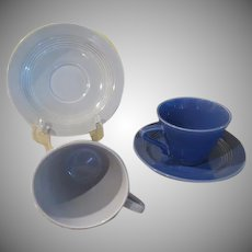 Homer Laughlin Harlequin Gray and Mauve (Blue) and Saucers - b236