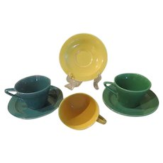 Homer Laughlin Harlequin Greens and Yellow Cups and Saucers - b236