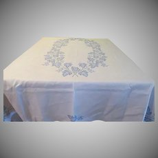 Embroidered Blue leaves Tablecloth - L4