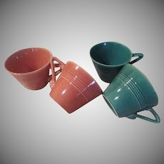 Homer Laughlin Harlequin Coral and spruce Green Cups - b235