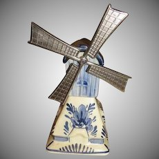 Delft Blue Dutch Windmill Music Box - b240