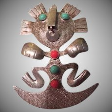 Sun God Tribal Ecuadorian 900 silver Pin/pendant - Free shipping
