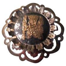 Peruvian Inca Figure Silver and 18K Pendant/pin - Free shipping