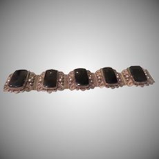 Big, Bold Silver with Black Bracelet - Free shipping