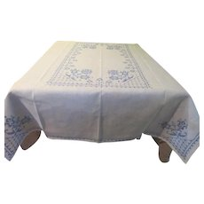 Embroidered Blue Tulips Tablecloth - L4