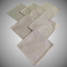 Embroidered Scroll Napkins - b235/6