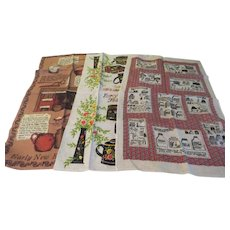 "Linen ""Early American'' Themed Kitchen Towels - b237"