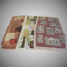 """Linen """"Early American'' Themed Kitchen Towels - b237"""